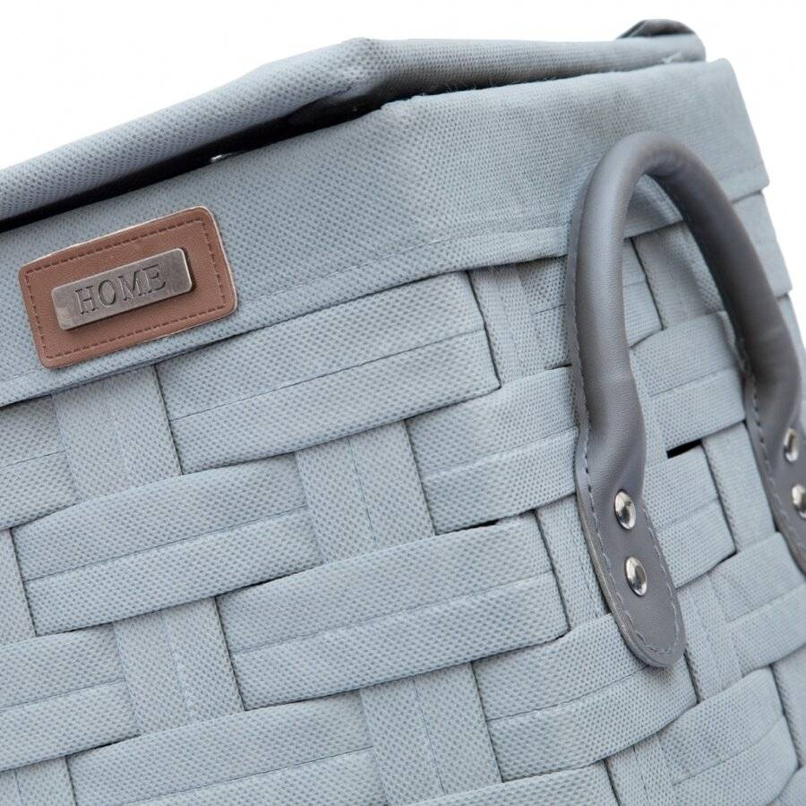 Slimline Laundry Linen Basket With Lid & Faux Leather Handle, Grey