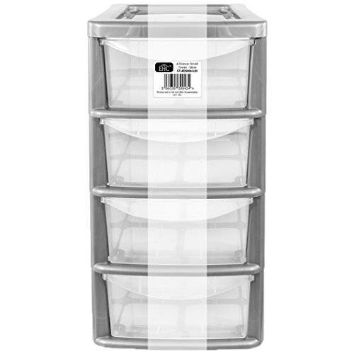 Small 4 Drawer Plastic Storage Unit With  Silver Frame