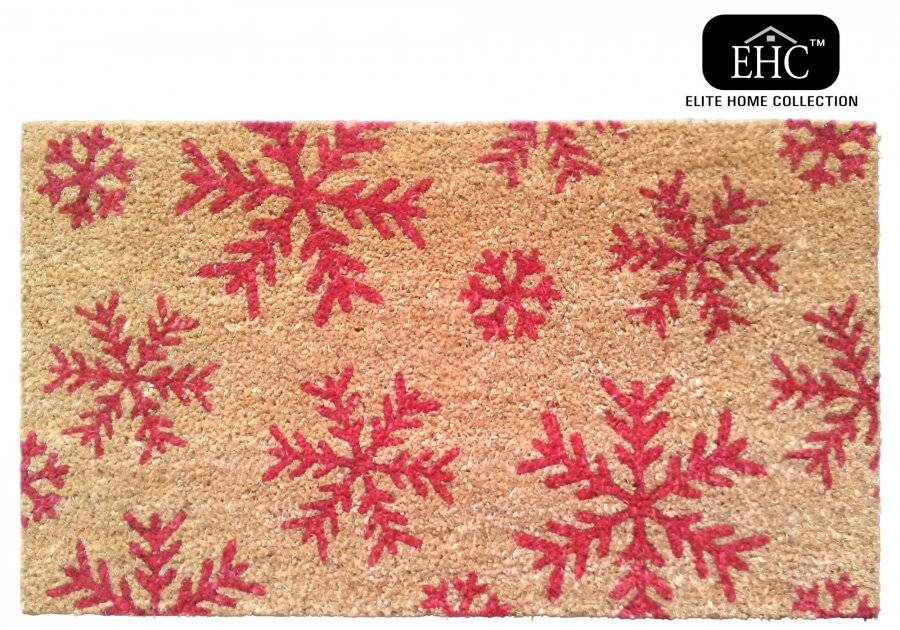 Snowflake Decorative Coir and PVC Backed Door Mat - Natural & Red