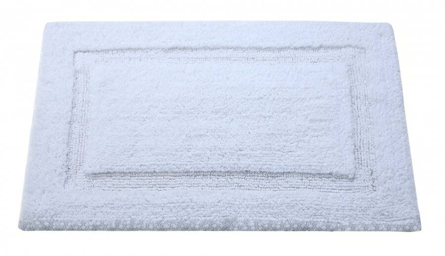 Super Absorbent Heavy Pile OxFord Non-Slip Bath Mat - White
