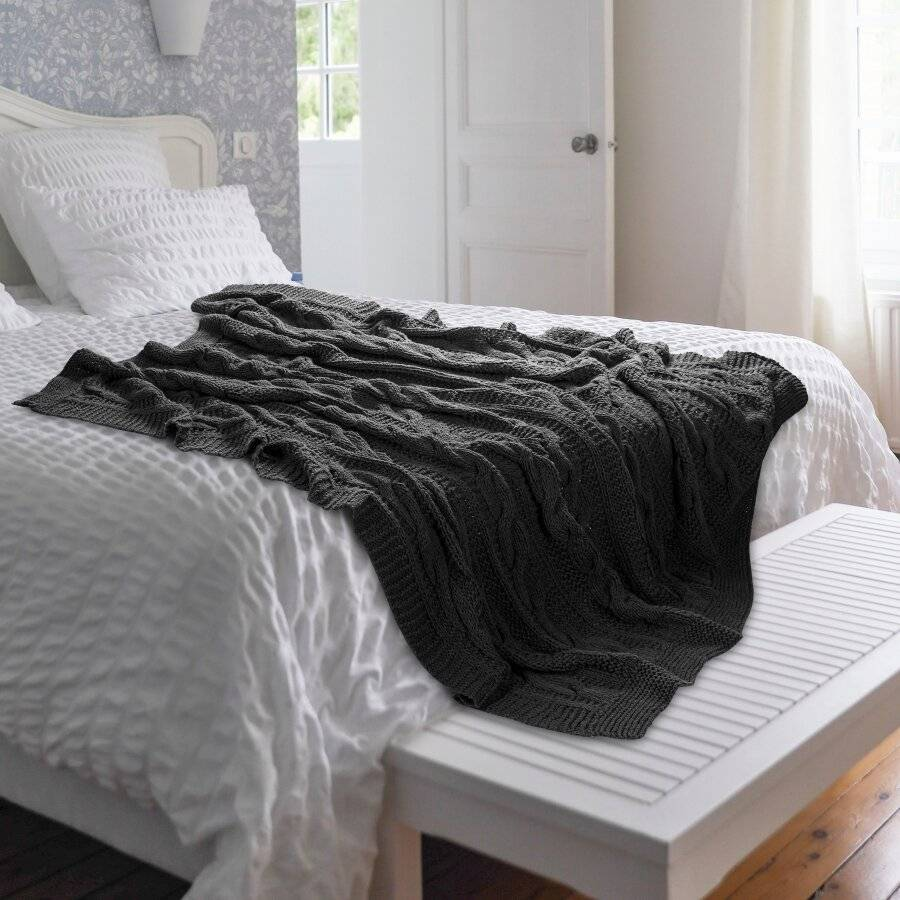 Super Chunky Hand Knitted Cotton Blanket Throw, Smoke - 125 x 150cms