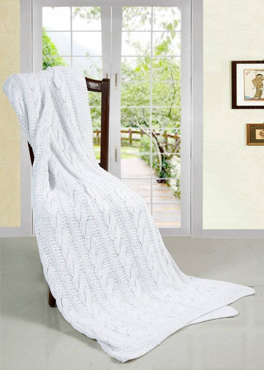 Super Chunky Hand Knitted Cotton Sofa Throw, White - 125 cm x 150 cm