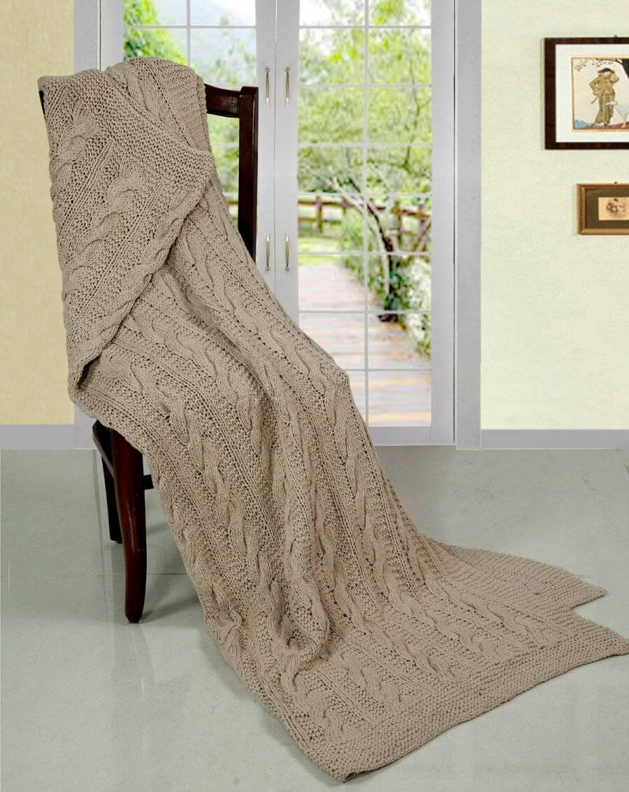 Super Chunky Large Hand Knitted Cotton Throw, Linen - 140 x 180 cm