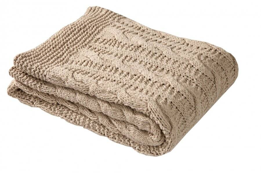 Super Chunky Large Hand Knitted Cotton Blanket Throw, Linen - 140 x 180cm