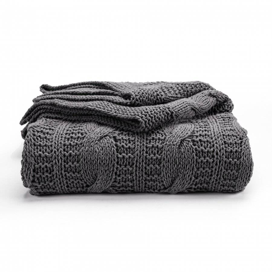 Super Chunky Large Hand Knitted Cotton Throw, Smoke - 140 x 180 cm