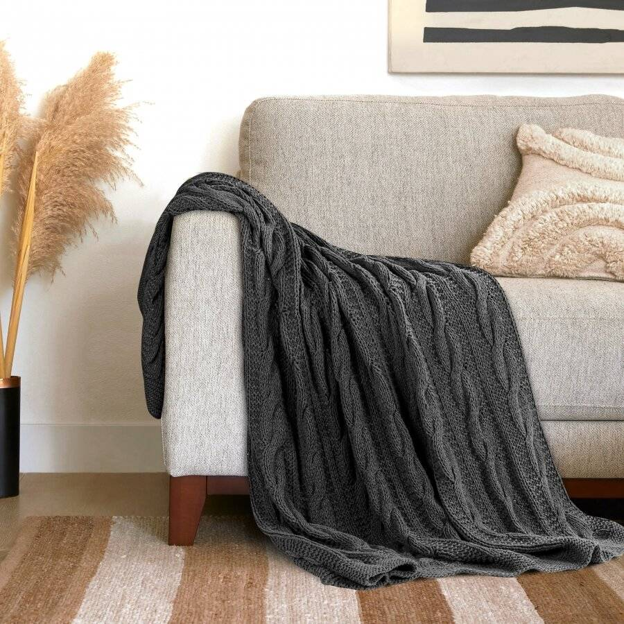 EHC Super Chunky Large Hand Knitted Cotton Throw, Smoke - 140 x 180 cm