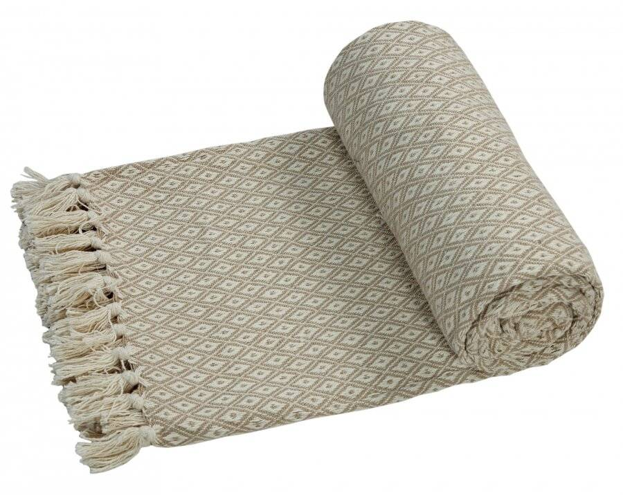 Super Soft Cotton Large Throw For 2-Seater Sofa or Double Bed - Beige