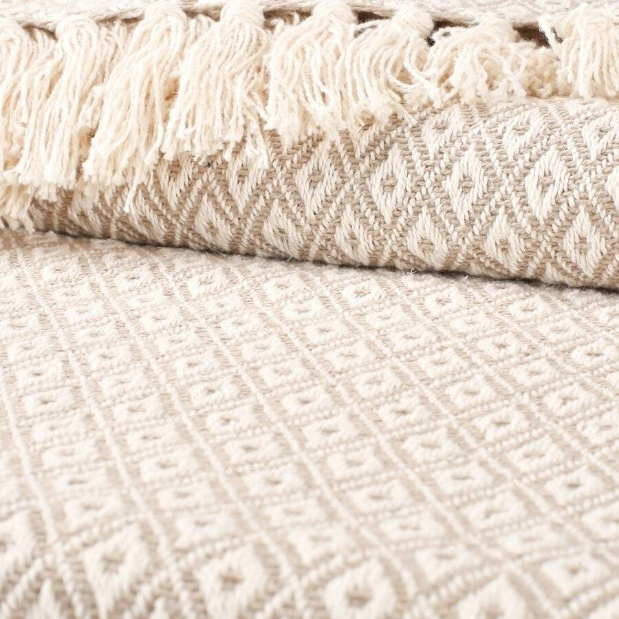 Super Soft Cotton Large Throw For 2 Seater Sofa or Double Bed - Beige