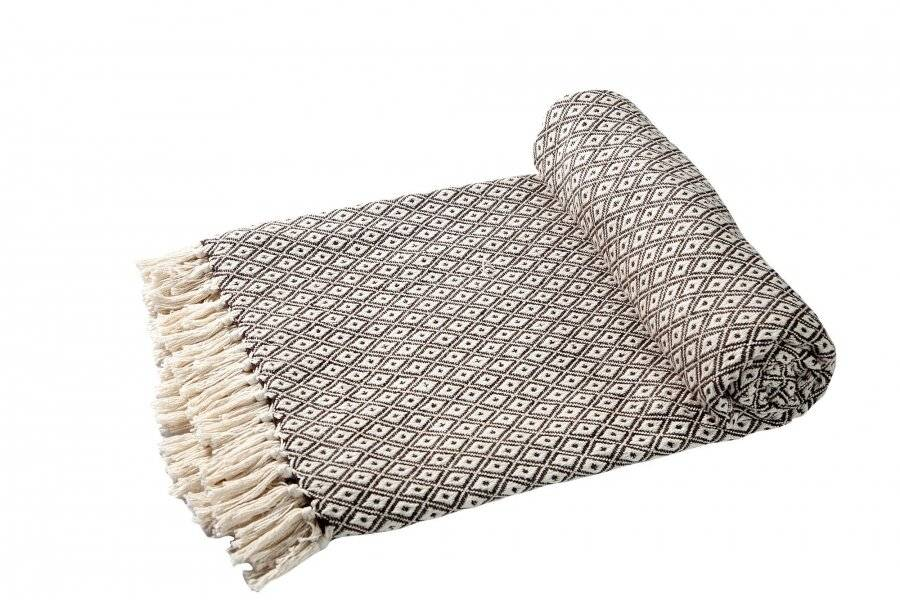 Super Soft Cotton Large Throw For 2-Seater Sofa or Double Bed -Brown