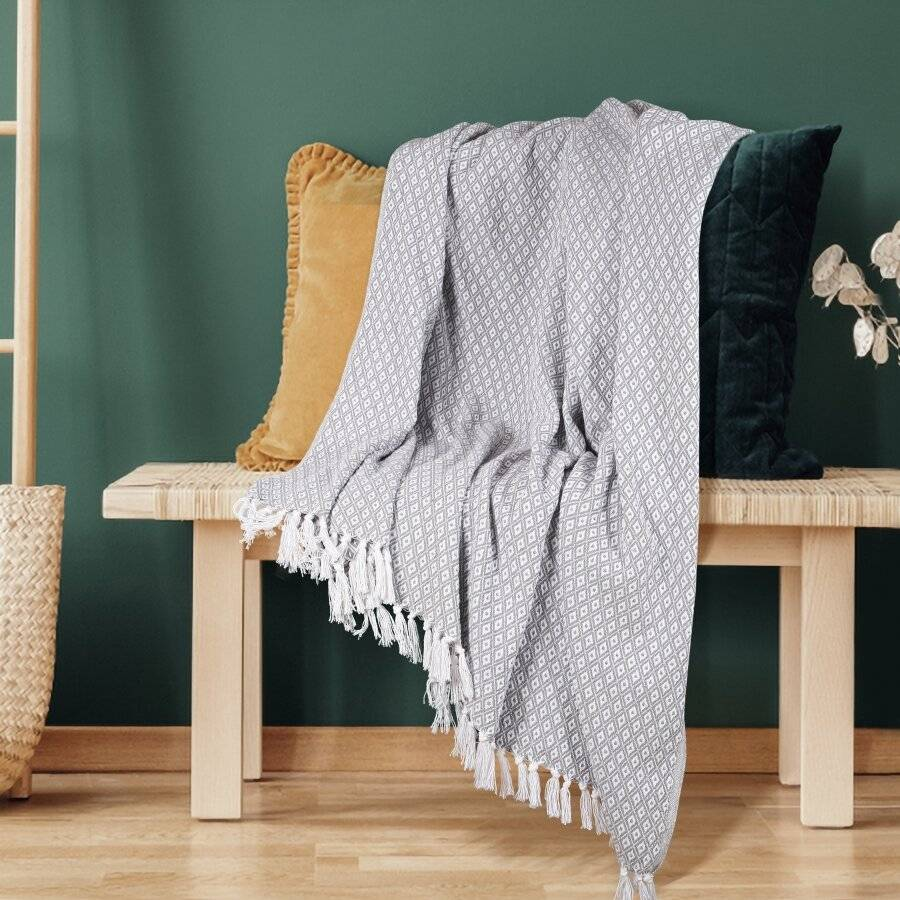 Super Soft Cotton Large Throw For 2 Seater Sofa or Double Bed - Grey