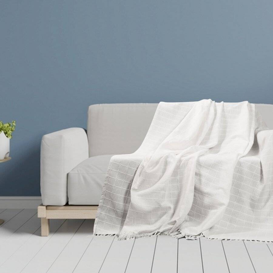 Superior Quality Cotton Woven Batten Throw, King Size - Ivory