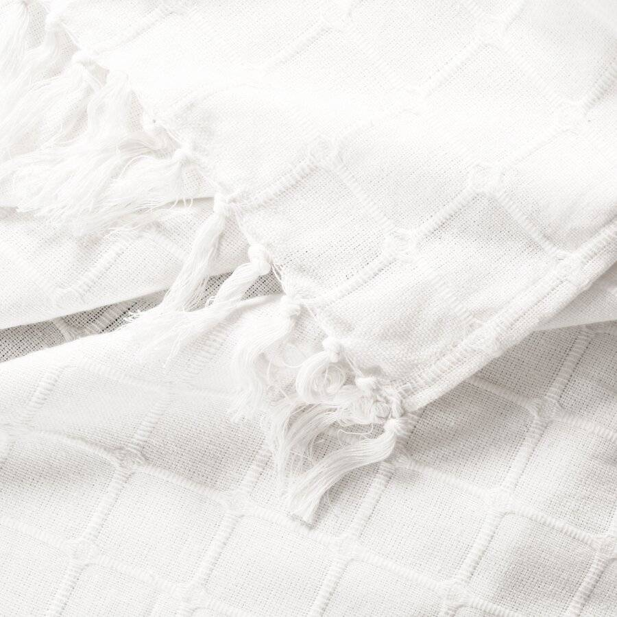 Superior Quality Cotton Woven Batten Throw, Super King - Ivory