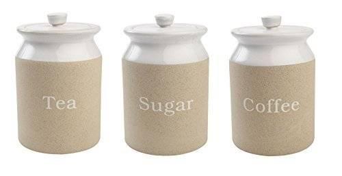 TandG Woodware Stone Design Stoneware Tea Sugar Coffee Storage Jar