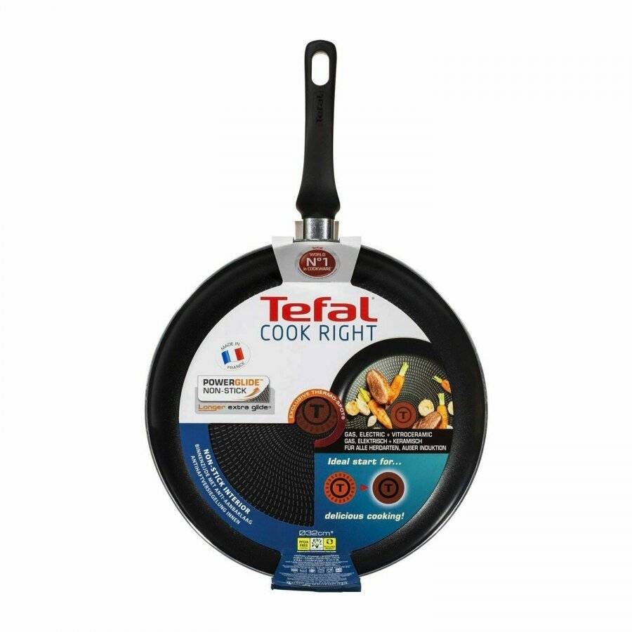 Tefal 32cm Cook Right Frypan with Thermospot, Aluminium, Black,
