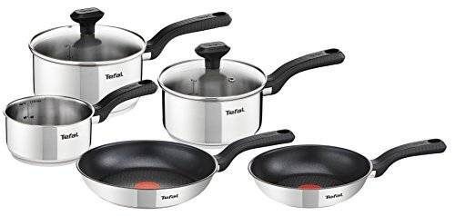 Tefal 5 Piece Comfort Max Stainless Steel Pots and Pans, Induction Set