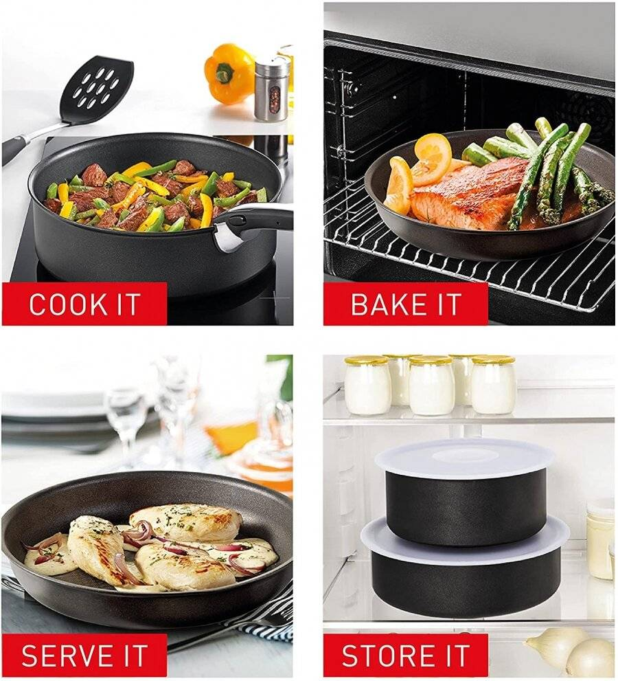 Tefal 7-Piece Ingenio Essential Sauce Pan Set with Lids, Black