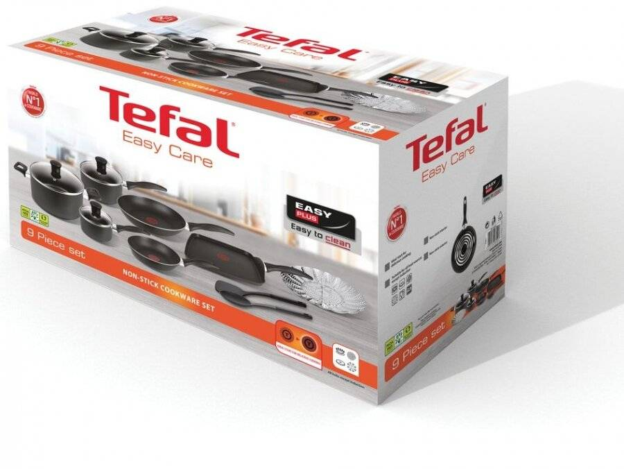 Tefal Easy Care 9 Piece set Nonstick Cookware Set - Easy to Clean