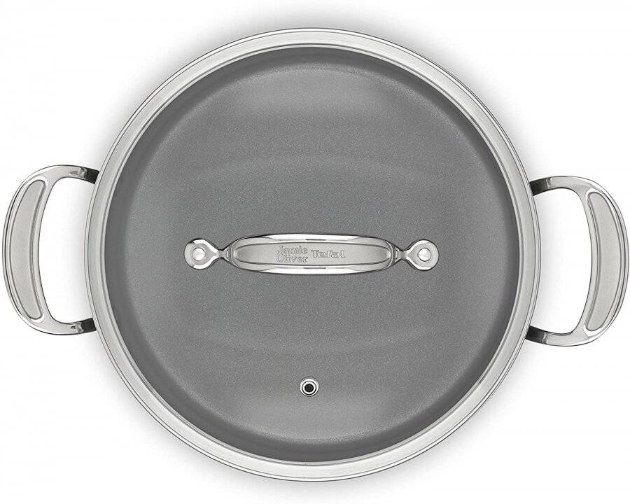 Tefal Hard Anodised 24 cm Induction Non stick Stewpot with Lid - Black
