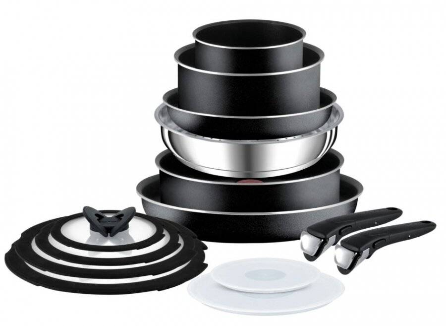 Tefal Ingenio Essential 14 Pcs Non-stick Saucepan & Frypan Set, Black