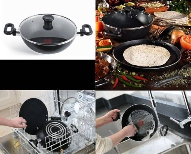 Tefal Madras Collection Nonstick 26 cm Kadhai With Lid