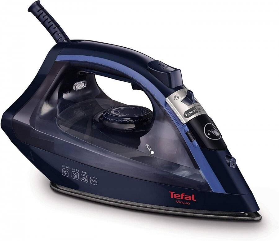 Tefal Virtuo FV1713 Steam Iron, 2000 Watt, Black/Dress Blue
