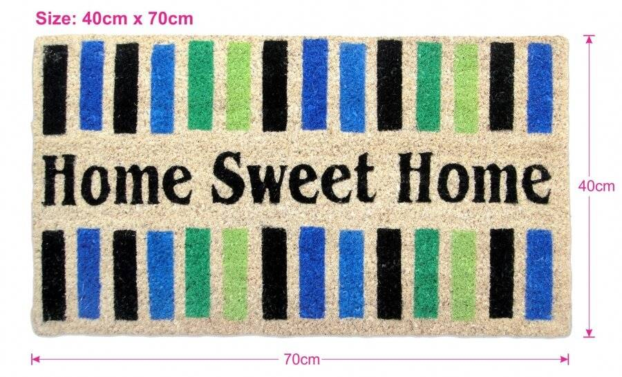 "Tough Coir PVC Entrance ""Home Sweet Home""  Door Mat"