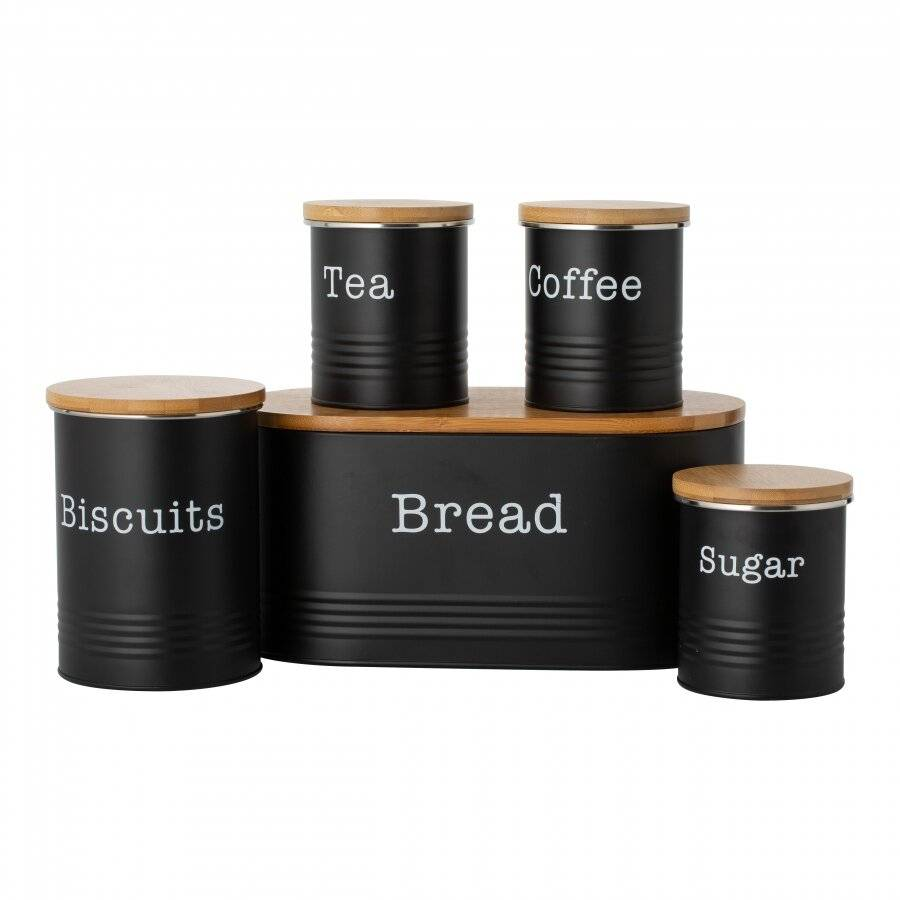 Typhoon 5 piece Tea,Coffee, Sugar, Biscuit and Bread Canisters, Black