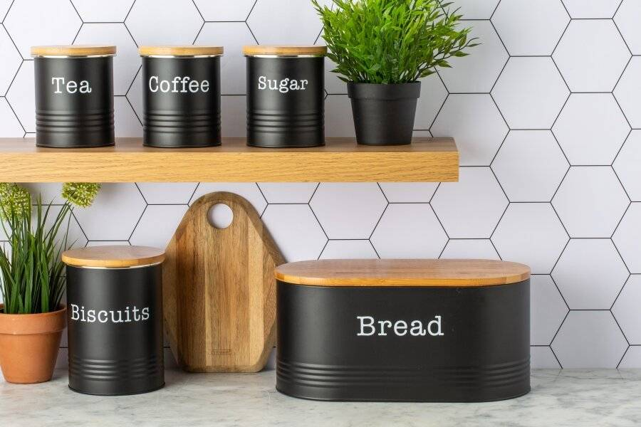 EHC 5 piece Tea, Coffee, Sugar, Biscuit and Bread Canisters, Black