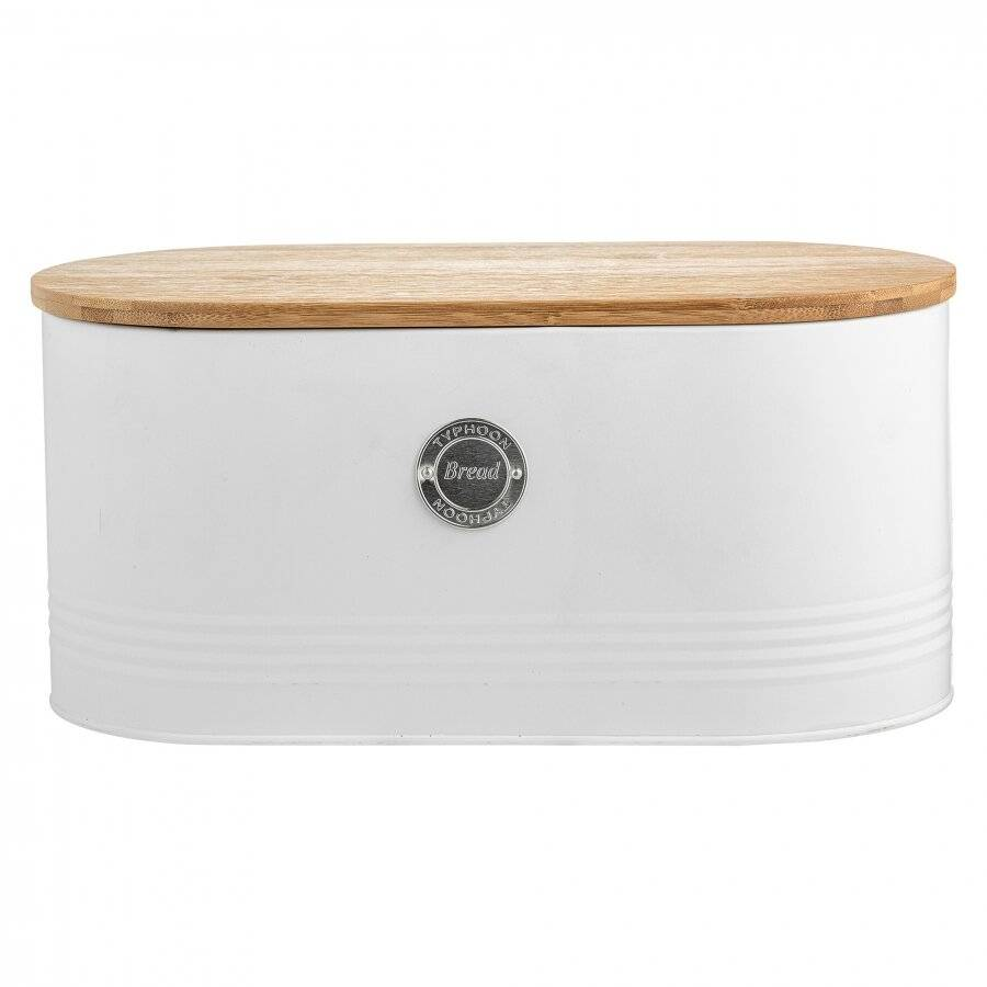 Typhoon Arctic Bread Bin Crock Storage Container With Lid - White