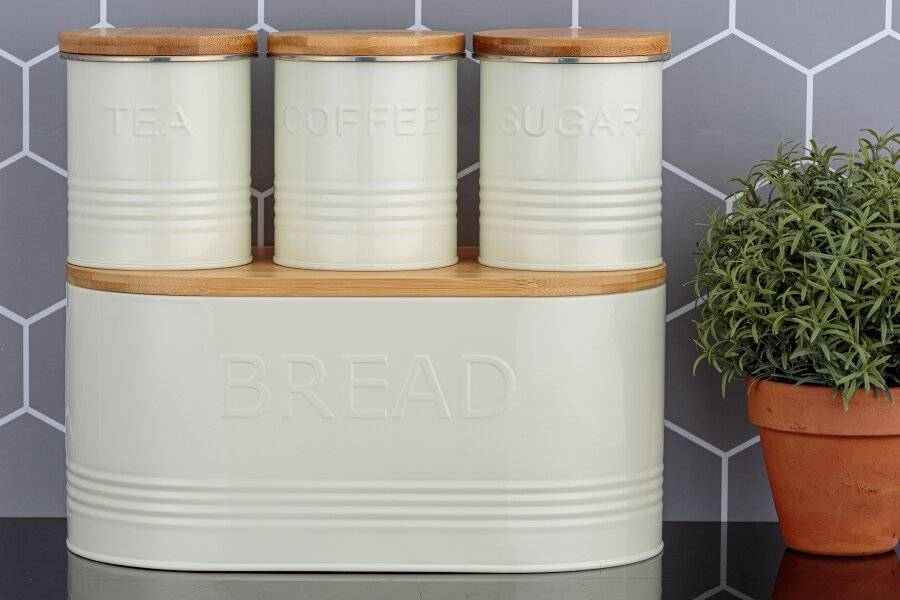 Typhoon Essential Stainless Steel Tea,Coffee,Sugar & Bread Storage Set