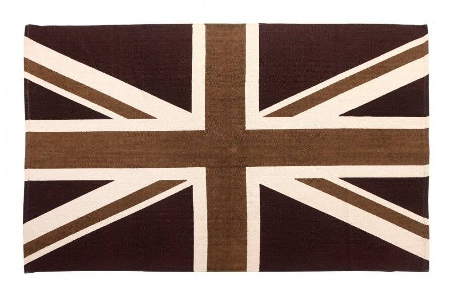 Union Jack Hand Woven Cotton Floor Rug-Mocha and Chocolate