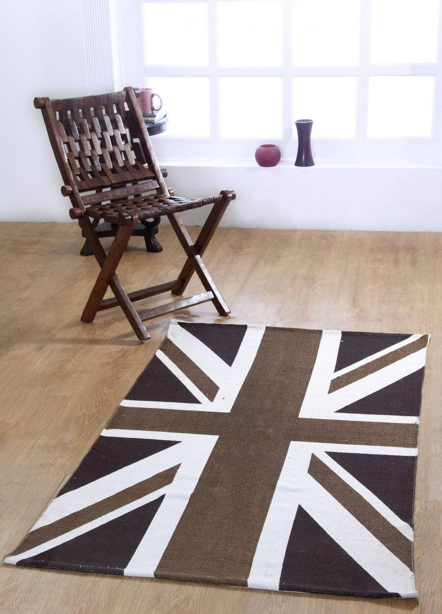 Union Jack Handwoven Cotton Floor Rug - Mocha & Chocolate
