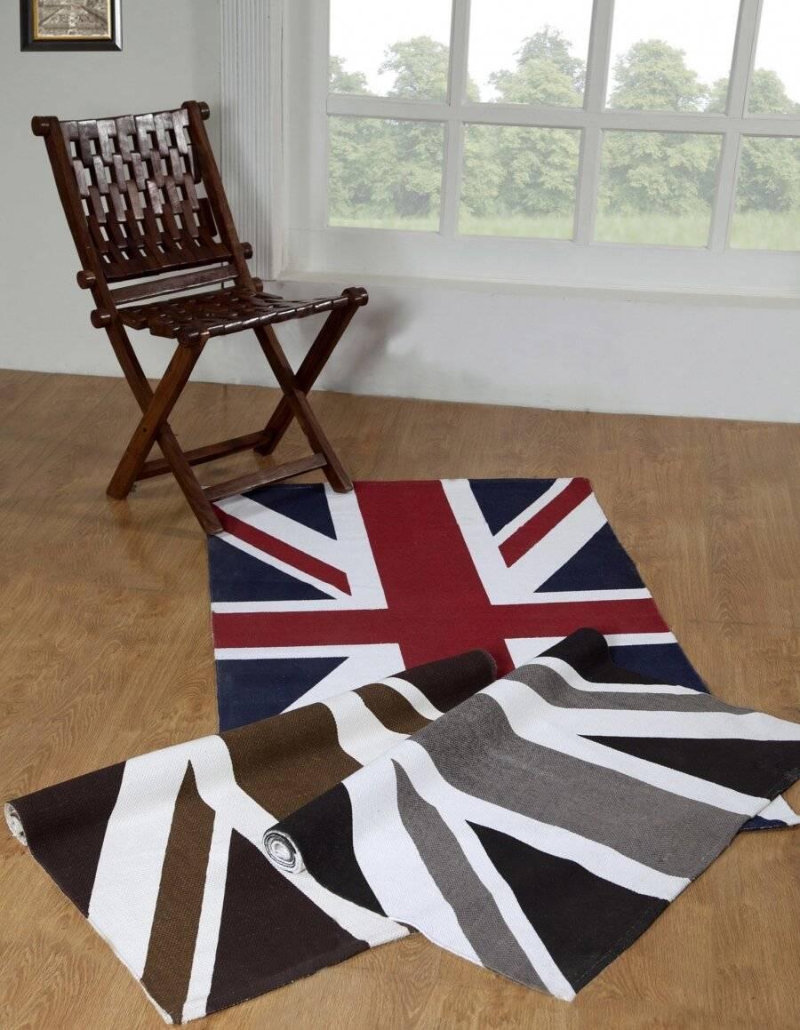 Union Jack Hand Woven Cotton Floor Rug -Mocha& Chocolate