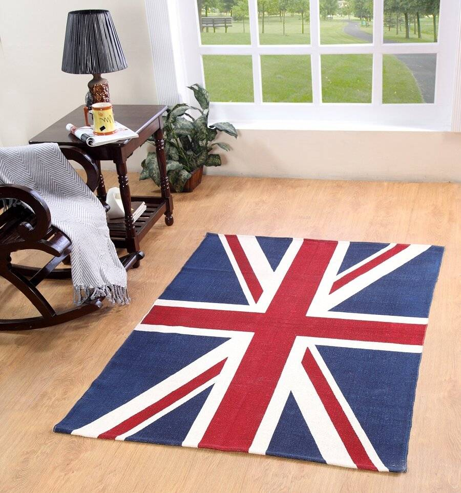 Union Jack Handwoven Cotton Floor Rug - Red ,Blue & White