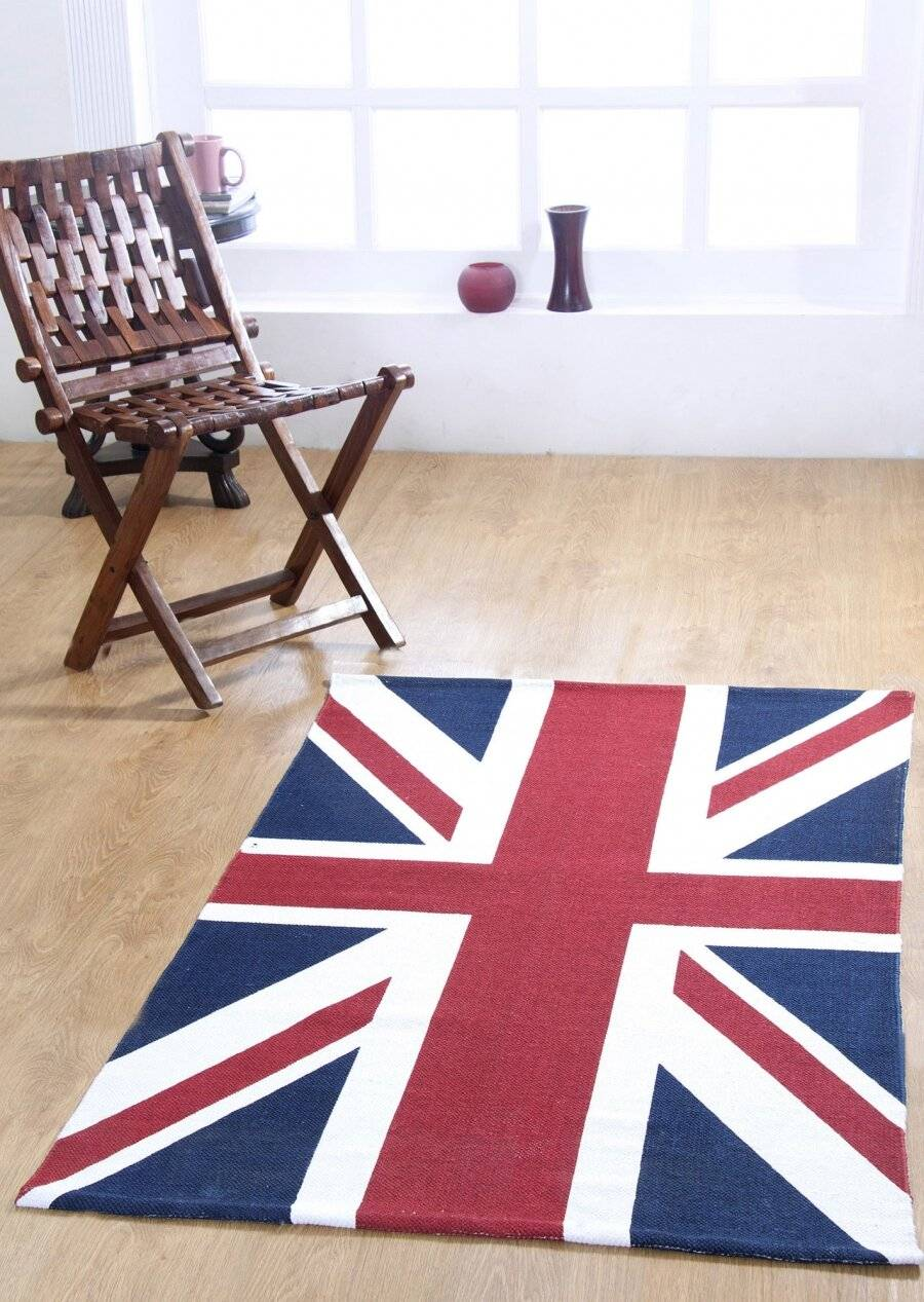 Union Jack Handwoven Cotton Floor Rug - Red, Blue & White
