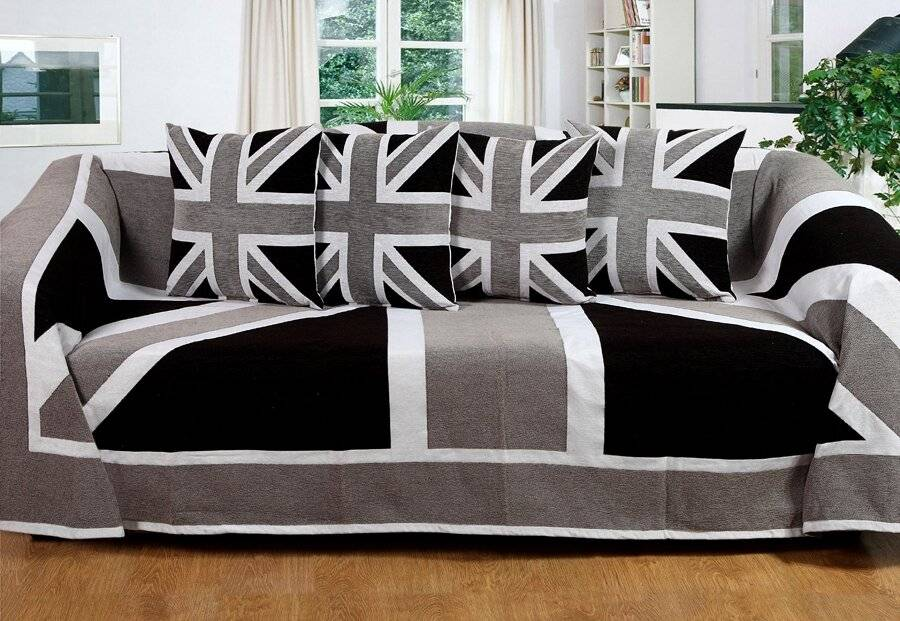 Union Jack Sofa King Size Bed or 2 Seater Throw - Grey,Black & White