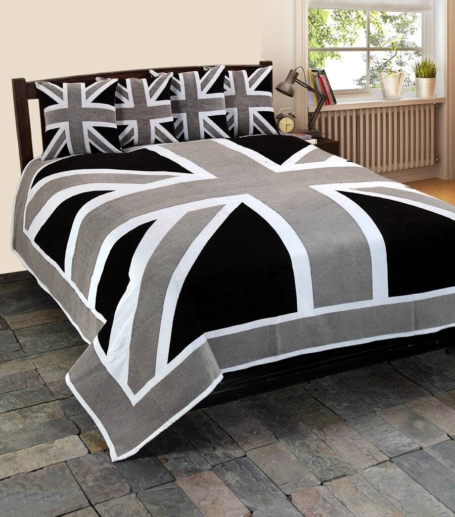 Large Union Jack Throw For, Sofa or Double Bed - Grey, Black & White