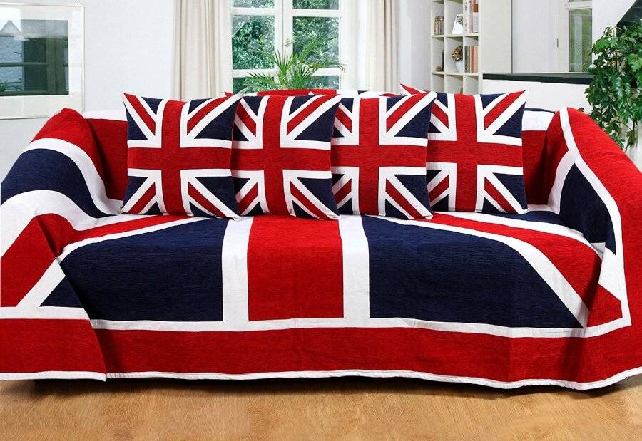 Union Jack Throw For, Sofa or Super King Size Bed - Red/Blue & White