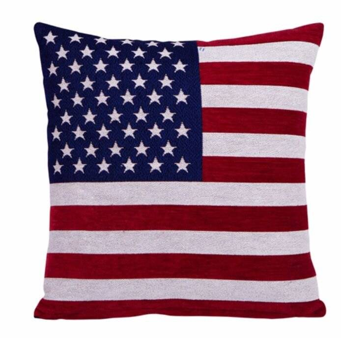 USA America Flag Vintage Style Pillow Case Chenille  Cushion Cover -Square