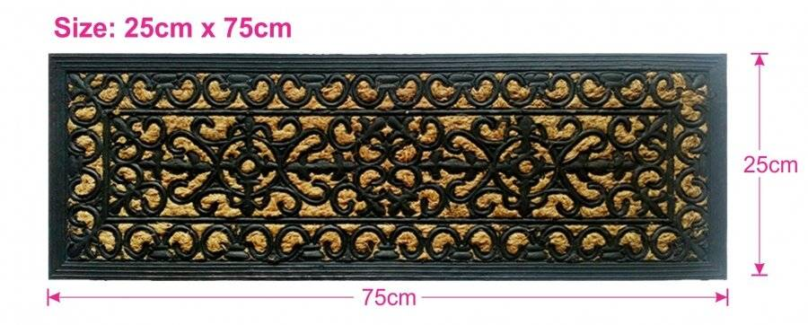 Victorian Wrought Iron Effect Non-Slip Panama Rubber Step Door Mat