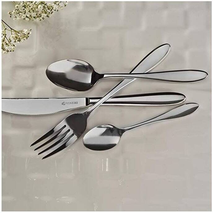 Viners Tabac 16 PCs 18.0 Cutlery Set - 4 Free Tea & Soup Spoons