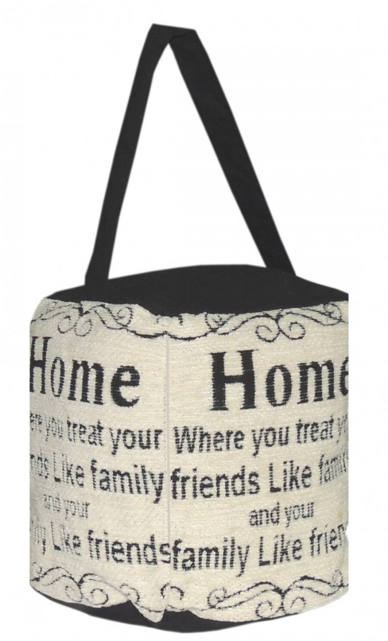 Vintage Decorative Fabric Doorstop - Home Sweet Home - Cream/Black