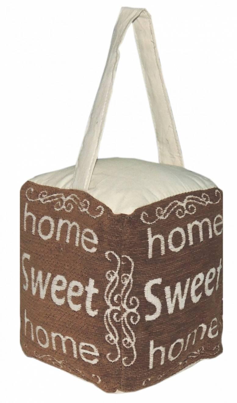 Vintage Decorative Fabric Doorstop-Home Sweet Home- Mocha