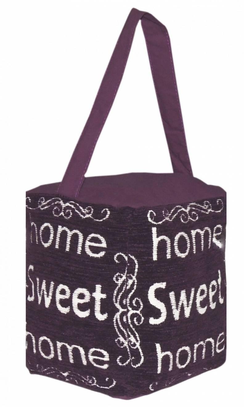 Vintage Decorative Fabric Doorstop-Home Sweet Home- Plum