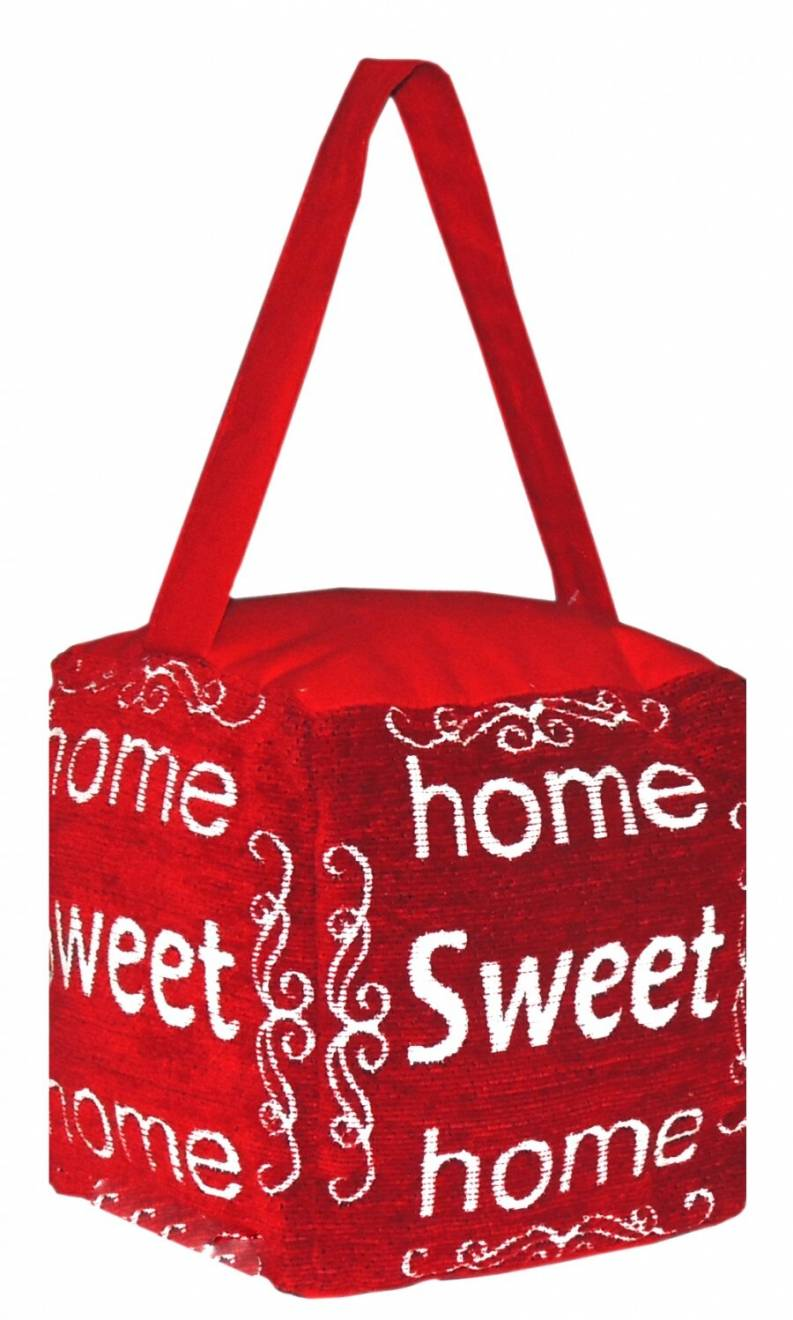 Vintage Decorative Fabric Doorstop - Home Sweet Home - Red