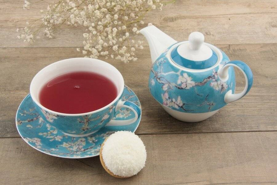 Floral Pattern Tea For One Teapot Cup Saucer Set - Gift Boxed, Teal