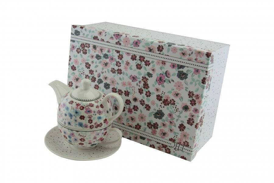 Vintage Floral Pattern Tea for One Teapot Cup saucer Set - Gift Boxed