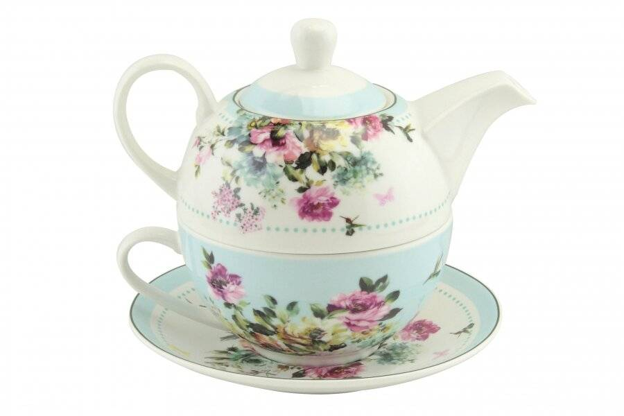Floral Pattern Tea For One Teapot Cup Saucer Set, Gift Boxed, Sky Blue