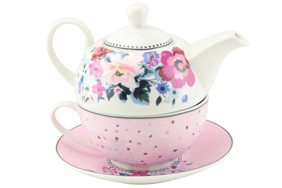 Floral Pattern Tea For One Teapot Cup Saucer Set - Gift Boxed, Pink
