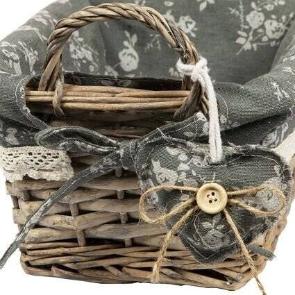 Vintage Wicker Basket With Side Handle Grey Liner & Victorian Lace